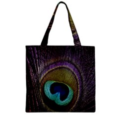 Peacock Feather Zipper Grocery Tote Bag by BangZart