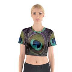 Peacock Feather Cotton Crop Top