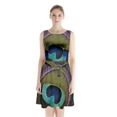 Peacock Feather Sleeveless Waist Tie Chiffon Dress