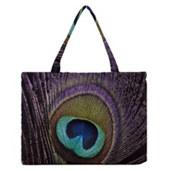 Peacock Feather Medium Zipper Tote Bag