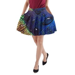 Peacock Feather Retina Mac A Line Pocket Skirt by BangZart