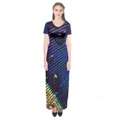Peacock Feather Retina Mac Short Sleeve Maxi Dress