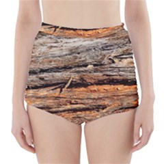Natural Wood Texture High Waisted Bikini Bottoms