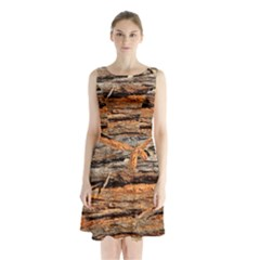 Natural Wood Texture Sleeveless Waist Tie Chiffon Dress
