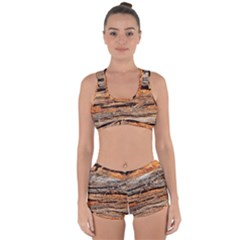 Natural Wood Texture Racerback Boyleg Bikini Set