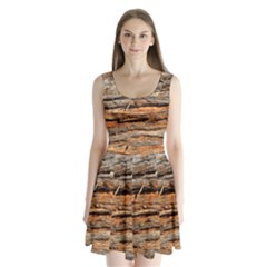 Natural Wood Texture Split Back Mini Dress  by BangZart