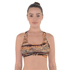 Natural Wood Texture Cross Back Sports Bra