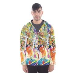 Multicolor Anime Colors Colorful Hooded Wind Breaker (men)