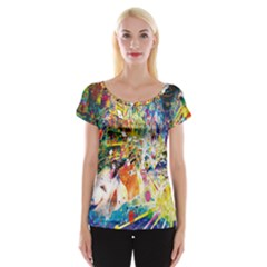 Multicolor Anime Colors Colorful Cap Sleeve Tops by BangZart