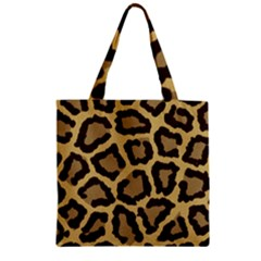 Leopard Zipper Grocery Tote Bag by BangZart