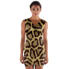 Leopard Wrap Front Bodycon Dress