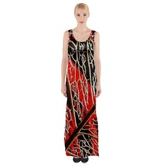 Leaf Pattern Maxi Thigh Split Dress