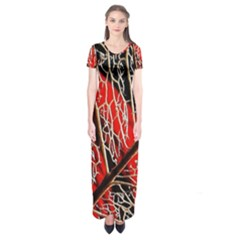 Leaf Pattern Short Sleeve Maxi Dress