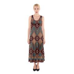 Knitted Pattern Sleeveless Maxi Dress