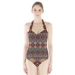 Knitted Pattern Halter Swimsuit