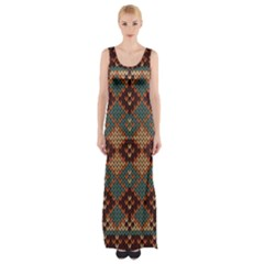 Knitted Pattern Maxi Thigh Split Dress