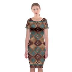 Knitted Pattern Classic Short Sleeve Midi Dress