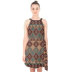Knitted Pattern Halter Collar Waist Tie Chiffon Dress