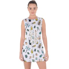 Insect Animal Pattern Lace Up Front Bodycon Dress