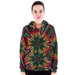 Kaleidoscope Patterns Colors Women s Zipper Hoodie