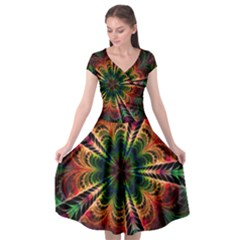 Kaleidoscope Patterns Colors Cap Sleeve Wrap Front Dress
