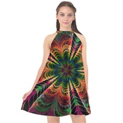 Kaleidoscope Patterns Colors Halter Neckline Chiffon Dress