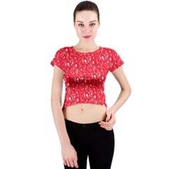 Heart Pattern Crew Neck Crop Top