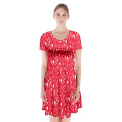 Heart Pattern Short Sleeve V Neck Flare Dress