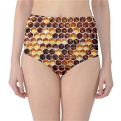 Honey Honeycomb Pattern High Waist Bikini Bottoms
