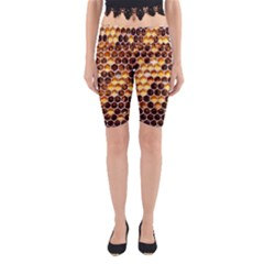 Honey Honeycomb Pattern Yoga Cropped Leggings by BangZart