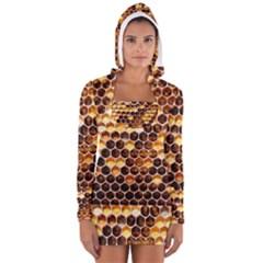 Honey Honeycomb Pattern Long Sleeve Hooded T Shirt