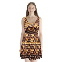 Honey Honeycomb Pattern Split Back Mini Dress