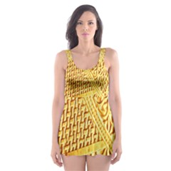 Gold Pattern Skater Dress Swimsuit