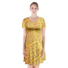 Gold Pattern Short Sleeve V Neck Flare Dress