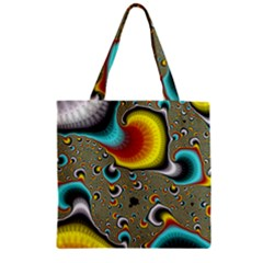 Fractals Random Bluray Zipper Grocery Tote Bag