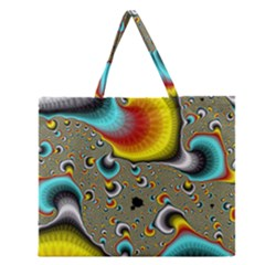 Fractals Random Bluray Zipper Large Tote Bag by BangZart