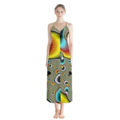 Fractals Random Bluray Button Up Chiffon Maxi Dress