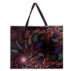 Fractal Swirls Zipper Large Tote Bag