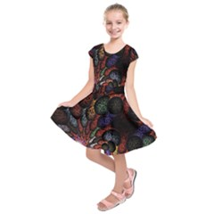 Fractal Swirls Kids  Short Sleeve Dress