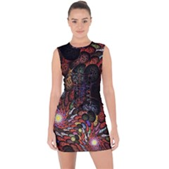 Fractal Swirls Lace Up Front Bodycon Dress