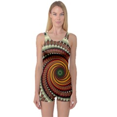 Fractal Pattern One Piece Boyleg Swimsuit
