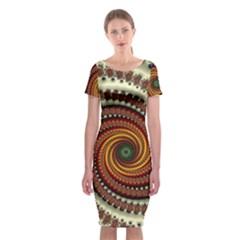 Fractal Pattern Classic Short Sleeve Midi Dress