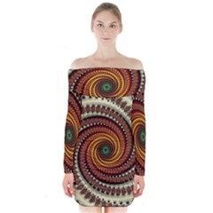 Fractal Pattern Long Sleeve Off Shoulder Dress