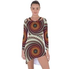 Fractal Pattern Asymmetric Cut Out Shift Dress