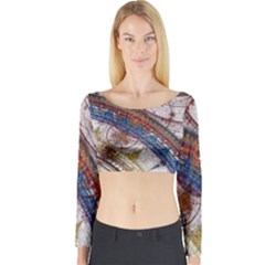 Fractal Circles Long Sleeve Crop Top