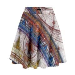 Fractal Circles High Waist Skirt