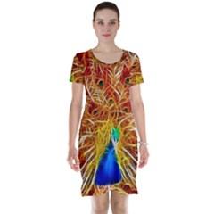 Fractal Peacock Art Short Sleeve Nightdress by BangZart