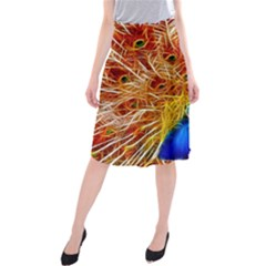 Fractal Peacock Art Midi Beach Skirt