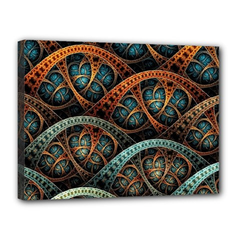 Fractal Art Pattern Flower Art Background Clored Canvas 16  X 12