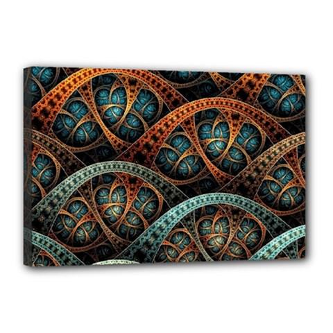 Fractal Art Pattern Flower Art Background Clored Canvas 18  X 12